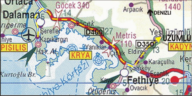 Map for Directions from Dalaman Airport to Uzumlu